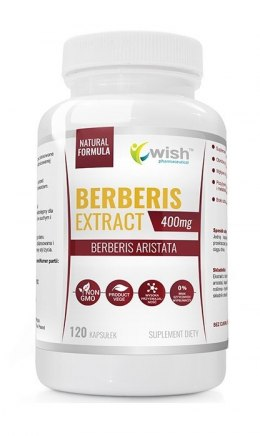 Berberis Aristata, Berberyna Extract 5:1, 400 mg, 120 kapsułek wege, Wish